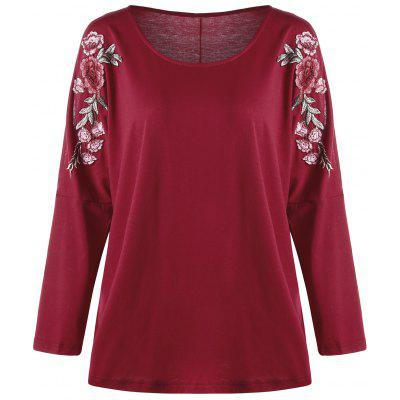 Buy Plus Size Split Sleeve Embroidered Top RED 2XL for $18.51 in GearBest store