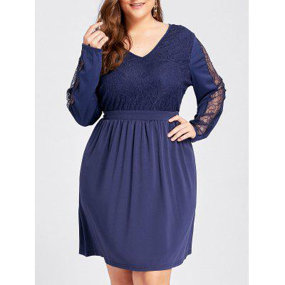 Buy PEARL INDIGO BLUE 2XL Plus Size Lace Insert High Waist Long Sleeve Dress for $31.19 in GearBest store