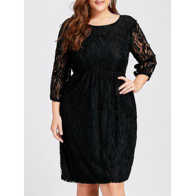 Buy BLACK 3XL Plus Size Cutout Lace Empire Waist Dress for $30.77 in GearBest store