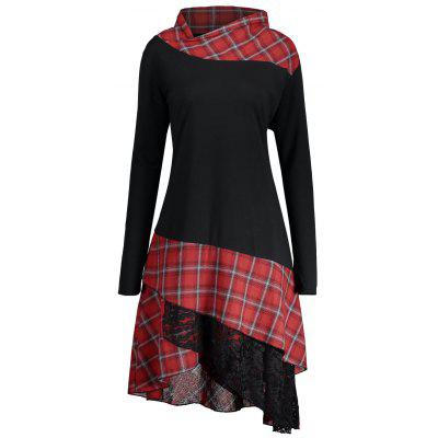 Lace Plaid Panel Plus Size Long Top