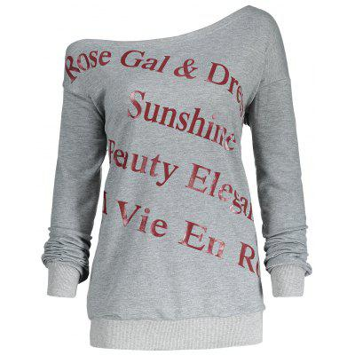 Letter Print Plus Size One Shoulder Sweatshirt