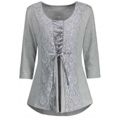Lace Panel Lace Up Top