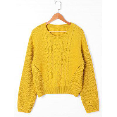 Drop Shoulder Ribbed Cable Knit Sweater 227553401