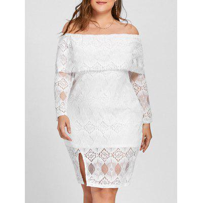 Buy WHITE 3XL Plus Size Off The Shoulder Flounce Lace Dress for $28.69 in GearBest store