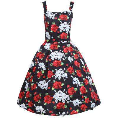 Buy BLACK XL Rose Halloween Skull Plus Size Vintage Dress for $24.87 in GearBest store