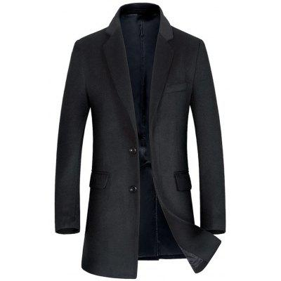 Buy BLACK L Single Breasted Flap Pocket Wool Blend Coat for $120.10 in GearBest store