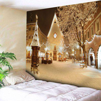 Christmas Town Snowscape Wall Tapestry