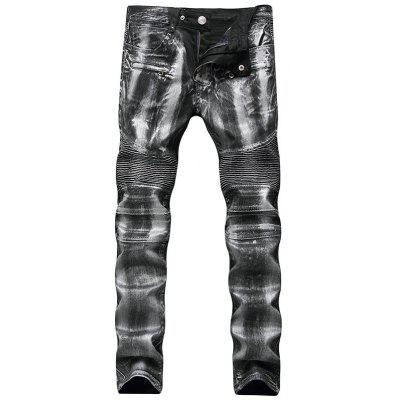 Metallic Color Straight Leg Biker Jeans