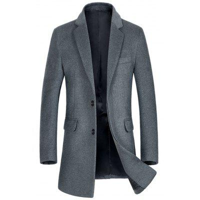 Buy GRAY L Single Breasted Flap Pocket Wool Blend Coat for $120.10 in GearBest store