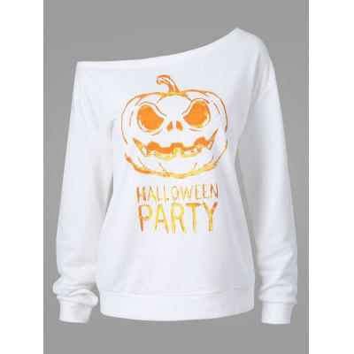 Plus Size Happy Halloween Skew Neck Sweatshirt