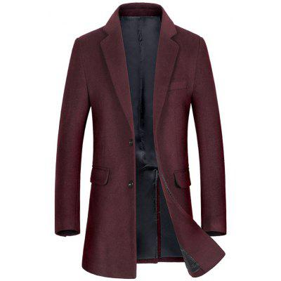 Buy WINE RED M Single Breasted Flap Pocket Wool Blend Coat for $120.10 in GearBest store