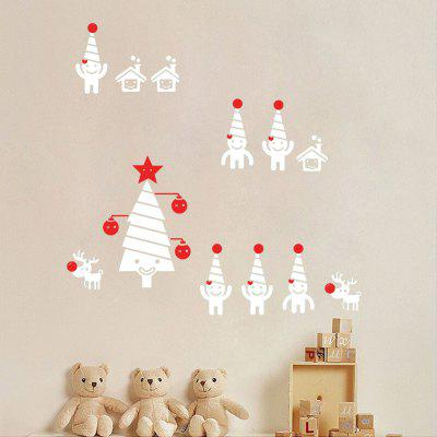 Christmas Tree Snowman Wall Art Sticker For Bedrooms