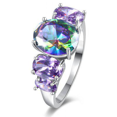Sparkly Faux Gem Crystal Oval Ring