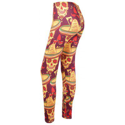 High Waisted Skull Print Leggings de Halloween
