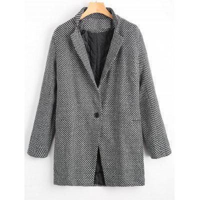 Lapel One Button Patterned Coat