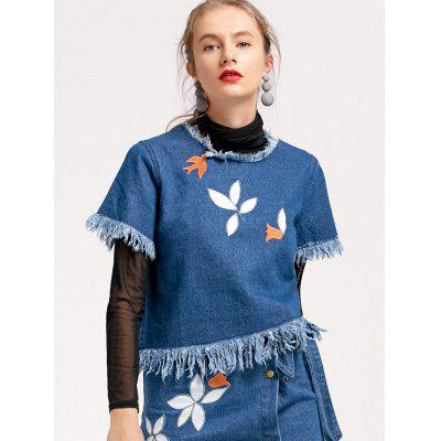 Embroidery Frayed Denim Top
