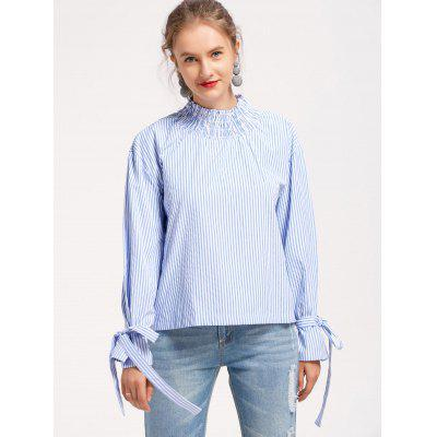 Buy STRIPE M Stripes Smocked Panel Bowknot Blouse for $23.35 in GearBest store