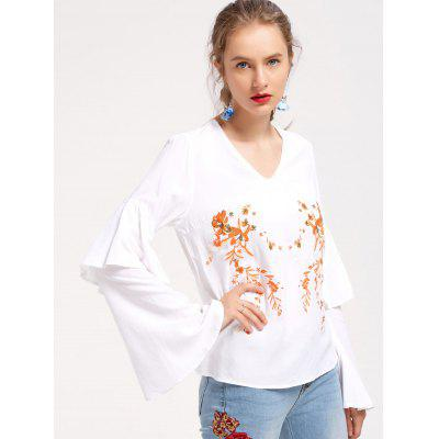 Buy WHITE M Embroidered Layered Flare Sleeve Blouse for $26.39 in GearBest store