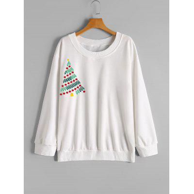 Christmas Tree Embroidered Loose Sweatshirt