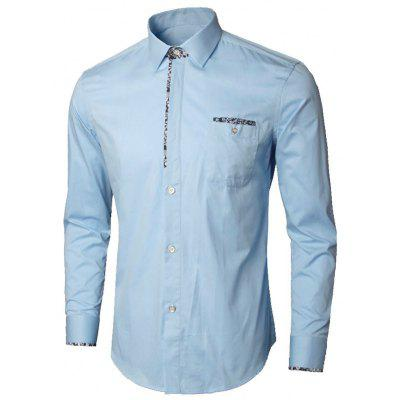 Buy LIGHT BLUE L Floral Detail Chest Pocket Shirt for $26.98 in GearBest store