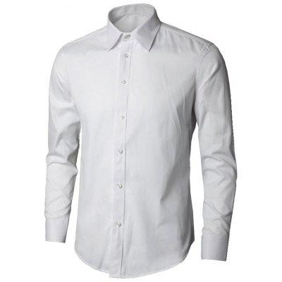 Buy WHITE M Long Sleeve Plain Business Shirt for $21.58 in GearBest store