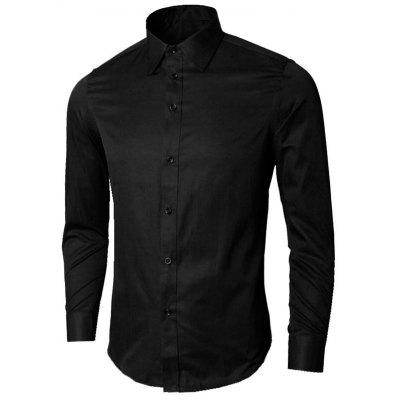 Buy BLACK 5XL Long Sleeve Plain Business Shirt for $21.58 in GearBest store