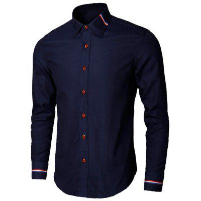 Buy PURPLISH BLUE 4XL Long Sleeve Stripe Detail Shirt for $26.98 in GearBest store
