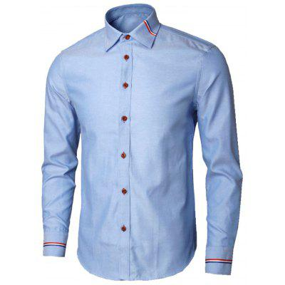Buy BLUE L Long Sleeve Stripe Detail Shirt for $26.98 in GearBest store