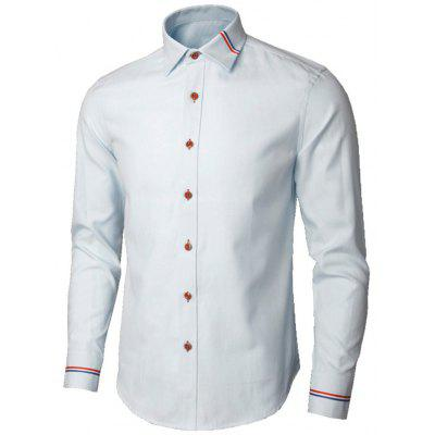 Buy LIGHT BLUE 5XL Long Sleeve Stripe Detail Shirt for $26.98 in GearBest store