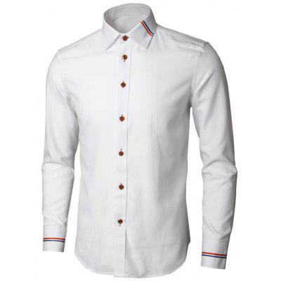 Buy WHITE 5XL Long Sleeve Stripe Detail Shirt for $26.98 in GearBest store