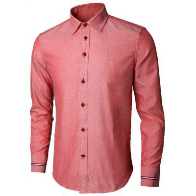 Buy WATERMELON RED 4XL Long Sleeve Stripe Detail Shirt for $26.98 in GearBest store
