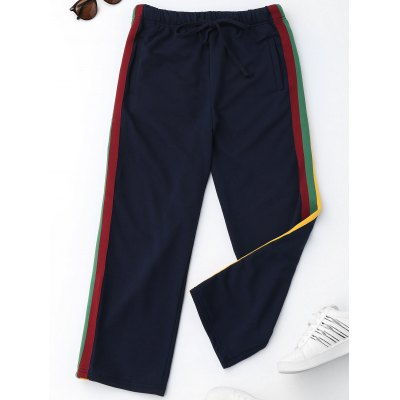 Buy PURPLISH BLUE L Color Block Striped Sporty Pants for $33.39 in GearBest store