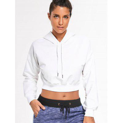 Buy WHITE M Cropped Drop Shoulder Hoodie for $26.55 in GearBest store
