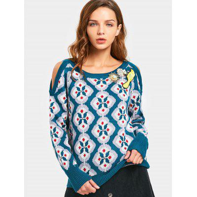 Cold Shoulder Crew Neck Graphic Sweater