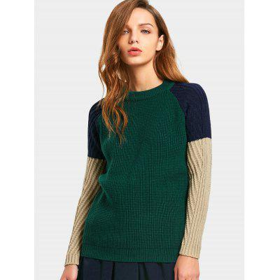 Raglan Sleeve Three Tone Sweater