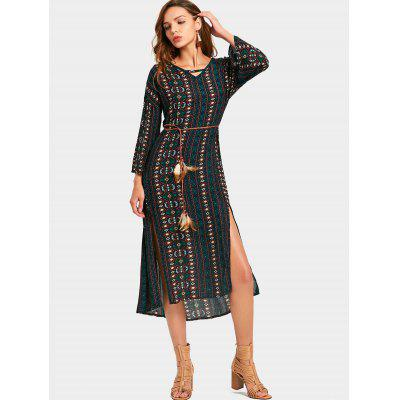 Cut Out Tribal Print Belted Slit Dress
