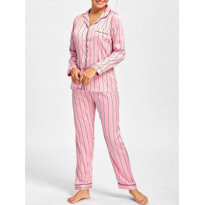 Buy PINK L Stripe Satin Shirt Pajama Set for $25.61 in GearBest store