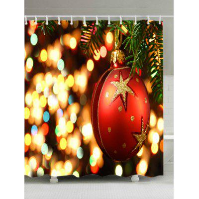 Christmas Bauble Lights Print Fabric Waterproof Shower Curtain