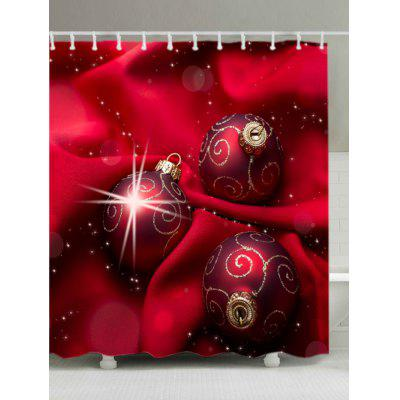 Christmas Cloth Baubles Print Fabric Waterproof Shower Curtain