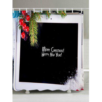 Christmas Tablet Computer Print Fabric Waterproof Shower Curtain