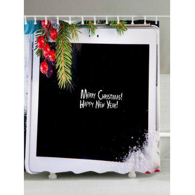 Christmas Tablet Computer Print Fabric Waterproof Bathroom Shower Curtain