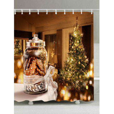 Christmas Tree Biscuits Print Fabric Waterproof Shower Curtain