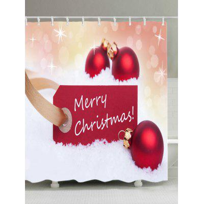 Merry Christmas Baubles Print Fabric Waterproof Shower Curtain