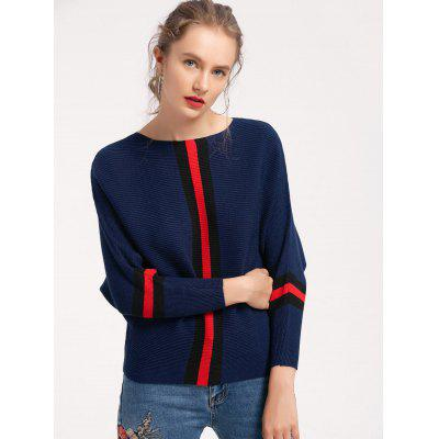 Stripes Panel Batwing Sweater