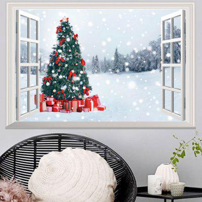 3D  Window Christmas Tree Snowy Forest Wall Art Sticker