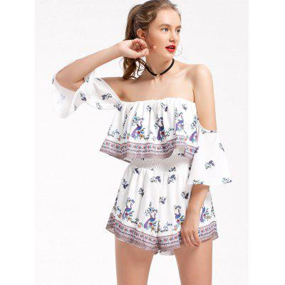 Off Shoulder Peacock Floral Overlap Romper