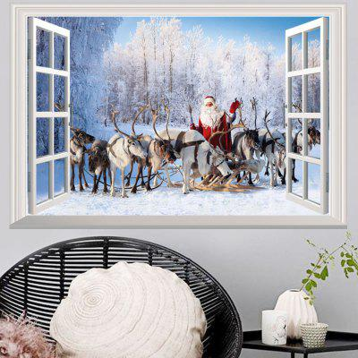 Okno Las Christmas Deer Santa 3D Wall Art Sticker