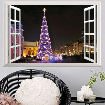 Window Christmas Tree 3D Wall Art Sticker For Living Room