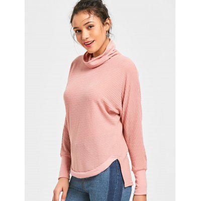 Turtleneck Ribbed Batwing Sleeve Sweater