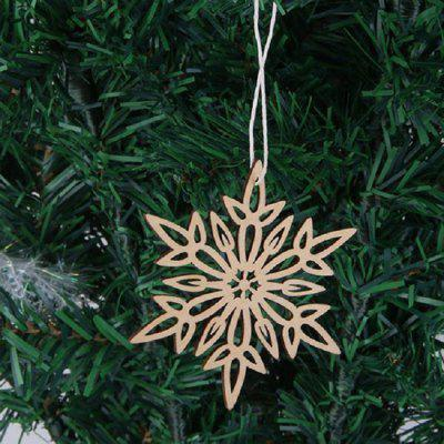 Buy WOOD 10 Pcs Christmas Tree Decorations Wooden Snowflake Hanging for $5.09 in GearBest store